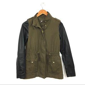 H&M military jacket w/ vegan leather sleeves